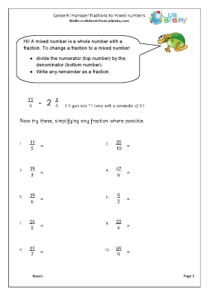 Preview of worksheet Convert improper fractions to mixed numbers