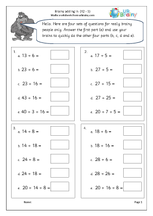 Preview of worksheet Brainy addition 1 (intelligent practice)