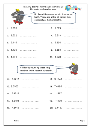 Preview of worksheet Rounding decimals: tenths and hundredths (2)
