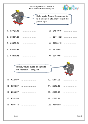 Preview of worksheet Rounding money (2)