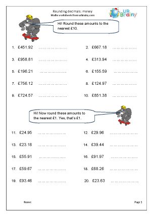 Preview of worksheet Rounding money (1)