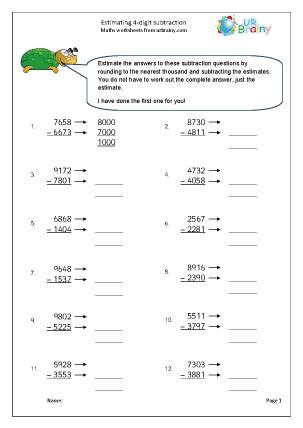 Preview of worksheet Estimating 4-digit subtraction