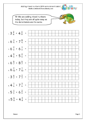 Preview of worksheet Add mixed numbers (6F4 easier)
