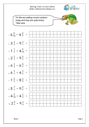 Preview of worksheet Add mixed numbers (6F4 harder)