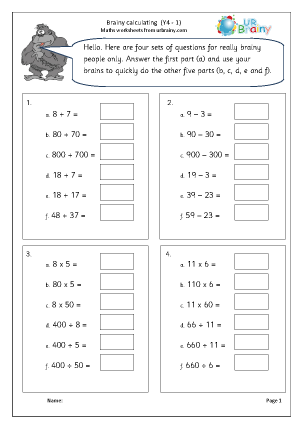 Preview of worksheet Intelligent calculating (1)