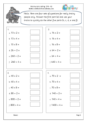Preview of worksheet Intelligent calculating (4)