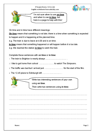 Preview of worksheet Prepositions of time (2)