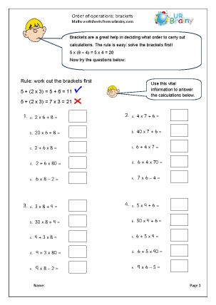 Preview of worksheet Order of operations:  no brackets