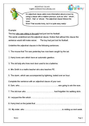Preview of worksheet Adjectival clauses