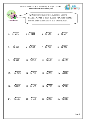 Preview of worksheet  Divide 3 digit numbers by 1 digit