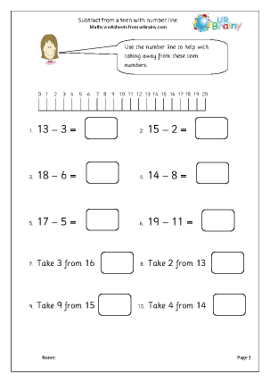 Preview of worksheet Subtract from a teen with a number line
