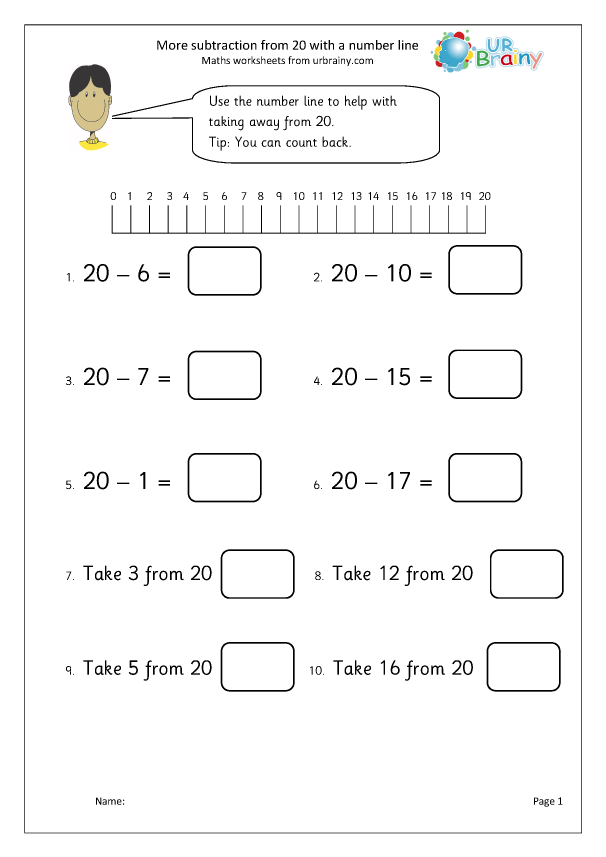 Preview of 'Subtract from 20 with a number line'