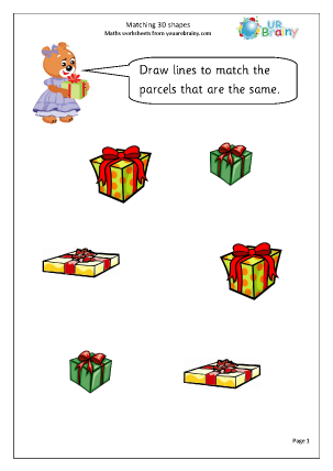 Preview of worksheet Matching 3D shapes (1)