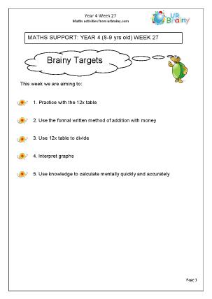 Preview of worksheet  Week 27