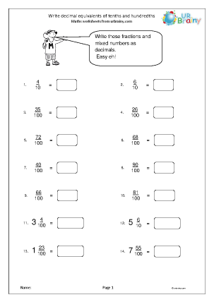 math worksheet : fractions and decimals maths worksheets for year 4 age 8 9  : Write Decimals As Fractions Worksheet