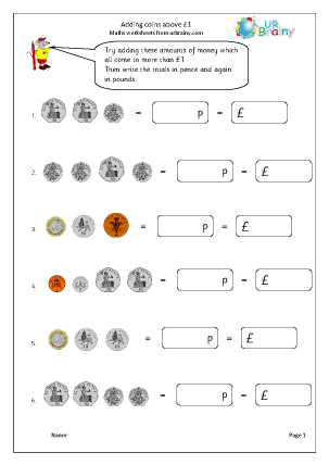 Preview of worksheet Adding coins above £1