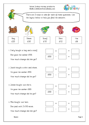 Preview of worksheet 2-step money problems