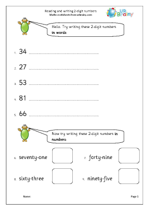 Preview of worksheet Read and write 2-digit numbers (2)