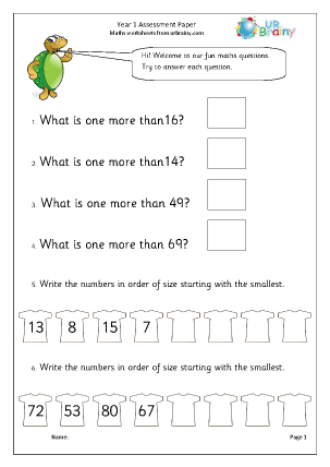 Preview of worksheet Year 1 Assessment Paper