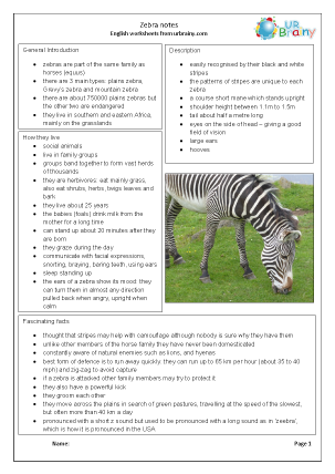 Preview of worksheet Zoo animals: zebras