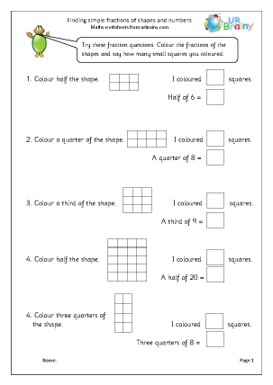 Preview of worksheet Find simple fractions of shapes and numbers