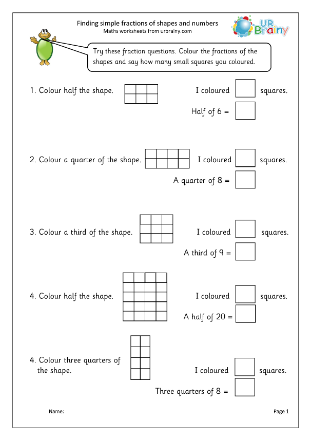 Preview of 'Find simple fractions of shapes and numbers'