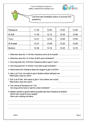 Preview of worksheet Train timetable problems