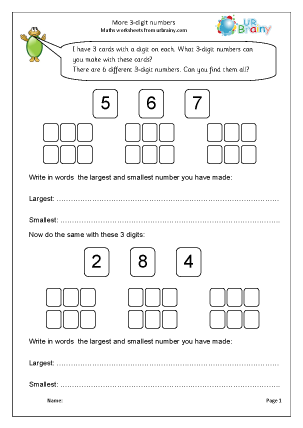 Preview of worksheet More 3-digit numbers