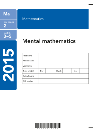 Maths Mental Arithmetic 2015 answer sheet