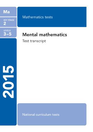 Maths Mental Arithmetic transcript  2015