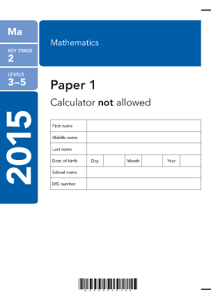 Preview of worksheet Maths Paper 1  2015