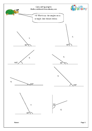 Preview of worksheet Calculate angles on a straight line