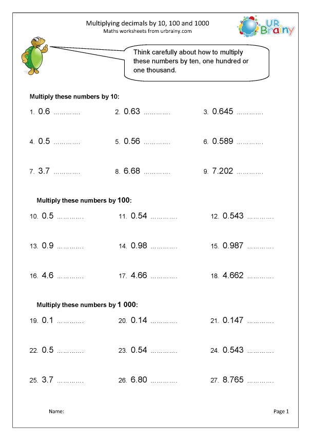 Preview of 'More multiplying decimals  by 10, 100, 1000'