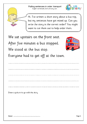 Preview of worksheet Putting sentences in order: transport
