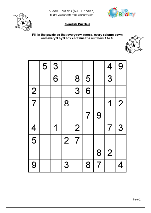 Sudoku 6 to 10 (fiendish)