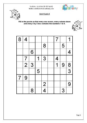 Sudoku 6 to 10 (hard)