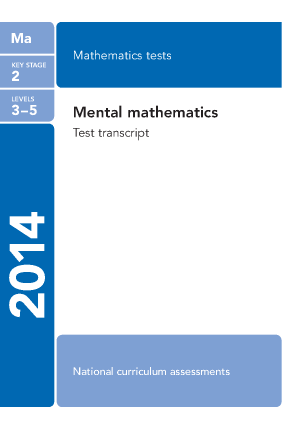 Preview of worksheet Maths Mental Arithmetic Transcript 2014