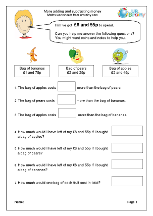Preview of worksheet More adding and subtracting money