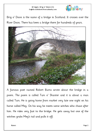 Preview of worksheet Brig O' Doon 1