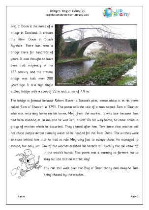 Preview of worksheet Brig O' Doon 2