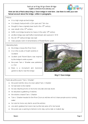 Preview of worksheet Bridges: Brig O' Doon factsheet