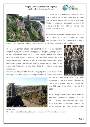 Preview of worksheet Clifton Suspension Bridge 2