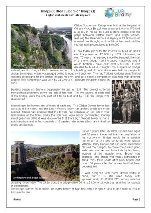 Preview of worksheet Clifton Suspension Bridge 3