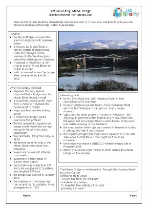 Preview of worksheet Bridges: Menai Bridge factsheet