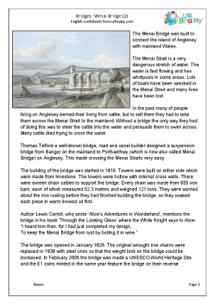 Preview of worksheet Menai Bridge 2