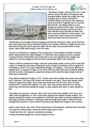 Preview of worksheet Menai Bridge 3