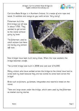 Preview of worksheet Carrick-a-Rede Rope Bridge 1