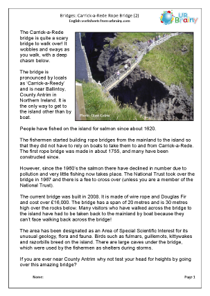 Preview of worksheet Carrick-a-Rede Rope Bridge 2