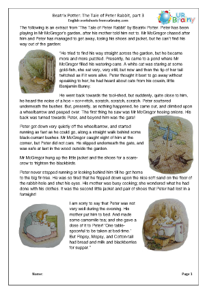 Preview of worksheet Peter Rabbit part 3: harder