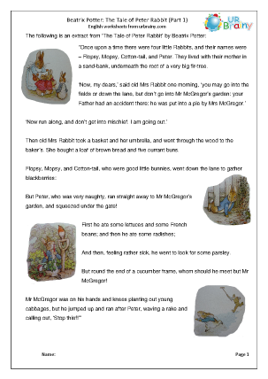Preview of worksheet Peter Rabbit part 1